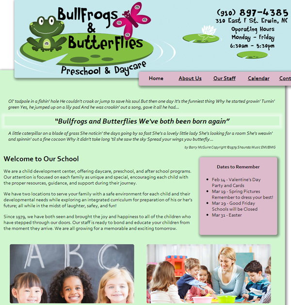 Bullfrogs & Butterflies Website